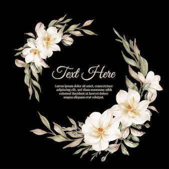 Marco de guirnalda de flores de flor magnolia blanca