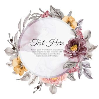Marco de guirnalda de flores de flor rosa púrpura naranja