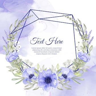 Marco de guirnalda de flores geométricas de anémona de flor púrpura