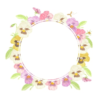 Marco de guirnalda de flores de pensamiento colorido acuarela aislado sobre fondo blanco