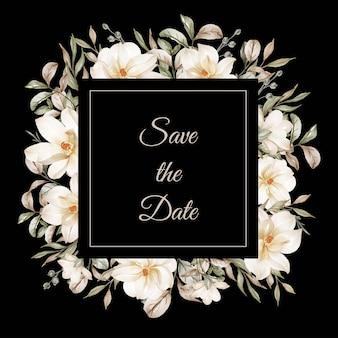 Marco de guirnalda de flores de peonías de flores melocotón y marco de flores blancas de magnolia de flores blancas para boda