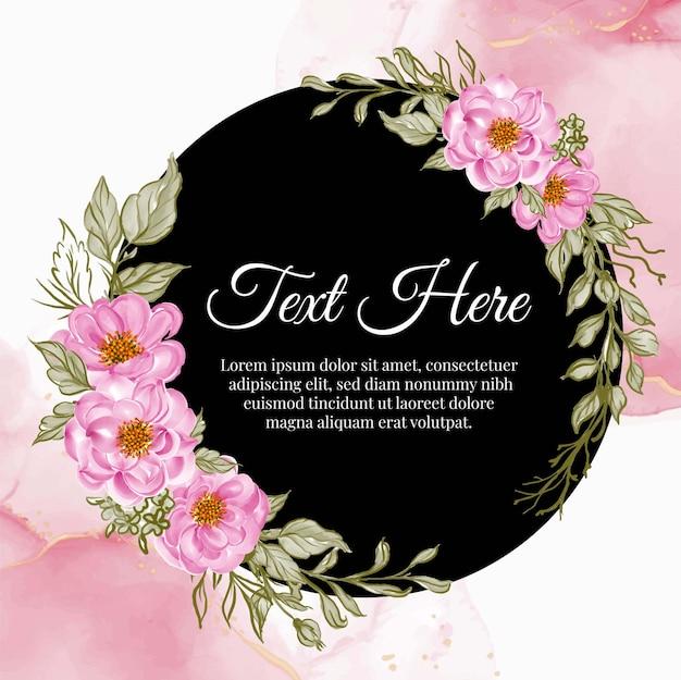 Marco de guirnalda de flores de rosa bebé rosa con tarjeta de tinta
