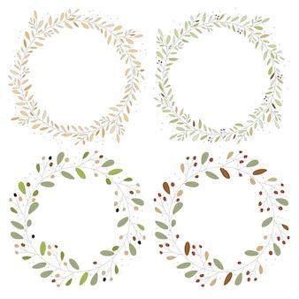 Marco de guirnalda de hojas de flor de otoño de estilo plano