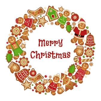 Marco de guirnalda de vacaciones de galletas de navidad. celebración saludo ornamento, guantes y campana de galletas, copo de nieve y árbol.