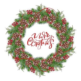 Marco de guirnalda de vector de navidad realista con frutos rojos en ramas de hoja perenne