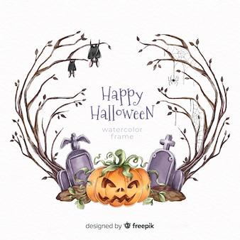 Marco de halloween acuarela calabaza