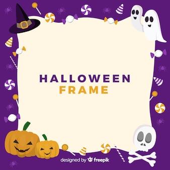 Marco de halloween adorable con diseño plano