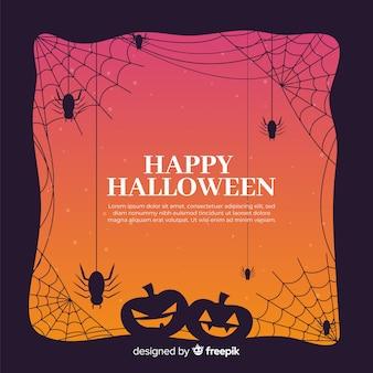 Marco de halloween con calabazas y arañas en diseño plano