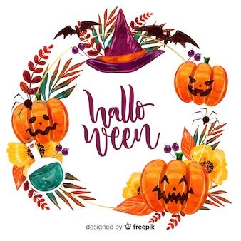 Marco de halloween con diseño de acuarela