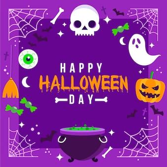 Marco de halloween de diseño plano