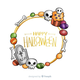 Marco de halloween dorado dibujado a mano