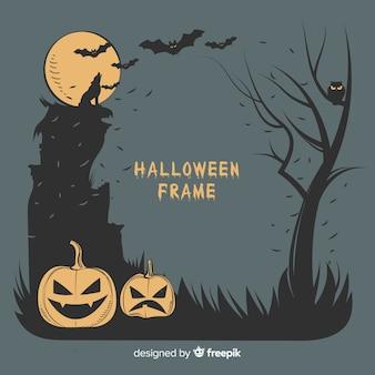 Marco de halloween espeluznante con estilo vintage