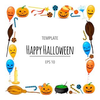 Marco de halloween para su texto con atributos tradicionales. estilo de dibujos animados