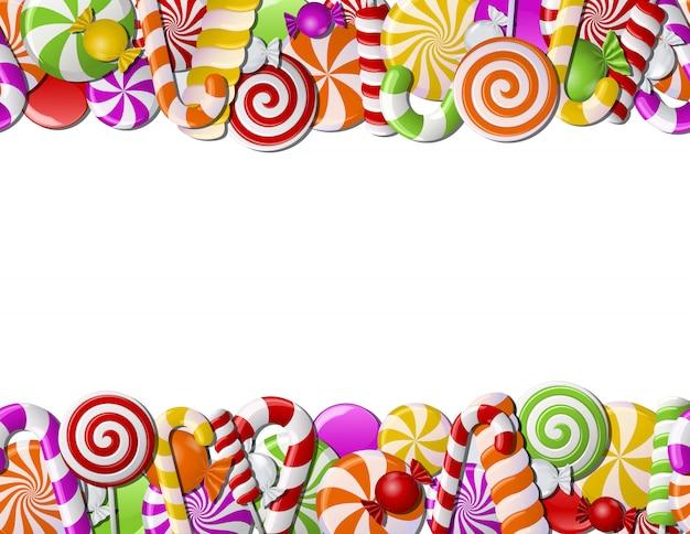 Marco hecho de caramelos de colores
