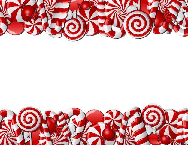 Marco hecho de caramelos rojos y blancos. patrón sin costuras