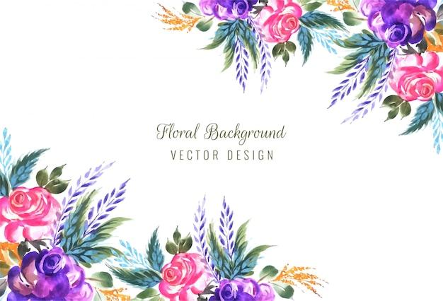 Marco hecho de fondo decorativo composición floral