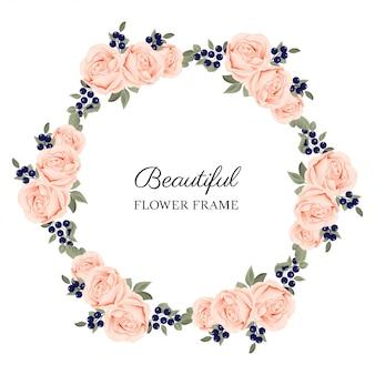 Marco hermoso círculo rosa flor