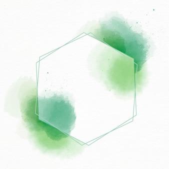 Marco hexagonal acuarela abstracta con manchas