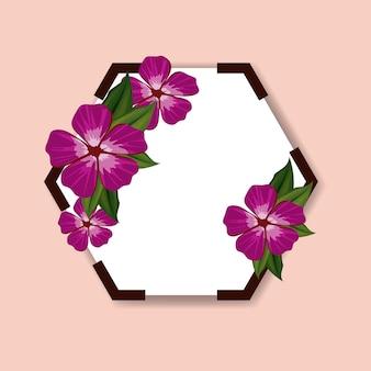 Marco hexagonal con hermosa decoración de flores