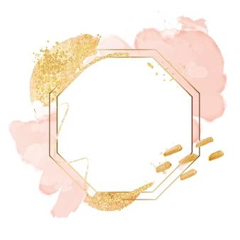 Marco hexagonal dorado acuarela abstracta