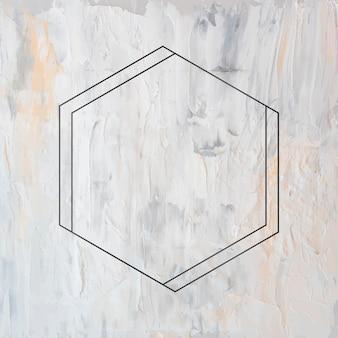 Marco hexagonal negro sobre fondo grunge