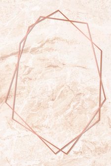 Marco hexagonal sobre fondo de mármol naranja