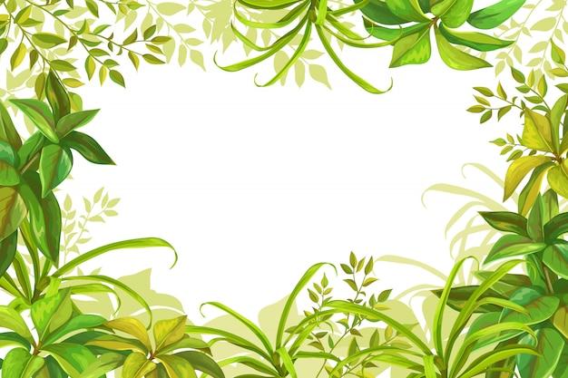 Marco con hojas de árboles y hierba.