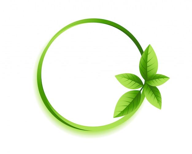 Marco de hojas de círculo verde con copyspace