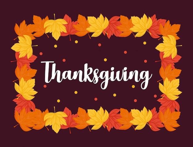 Marco de hojas del día de acción de gracias