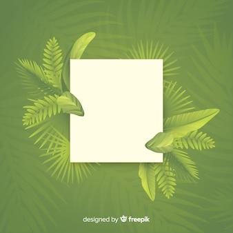 Marco de hojas con espacio vacío sobre fondo verde