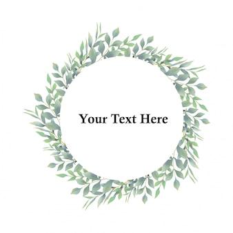 Marco de hojas de estilo acuarela para invitaciones de boda