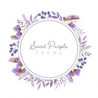 Marco de hojas y flores de acuarela en tema púrpura para tarjeta de boda y otros.