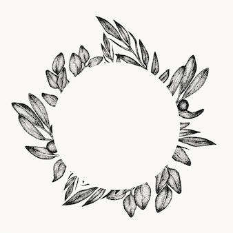 Marco de hojas de follaje verde, elemento de diseño gráfico, círculo aislado, borde botánico floral. composición tropical