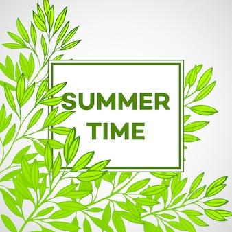 Marco con hojas y la inscripción horario de verano.