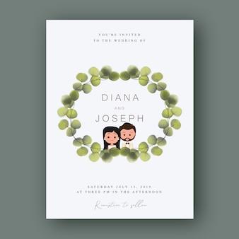 Marco de hojas de invitación de boda