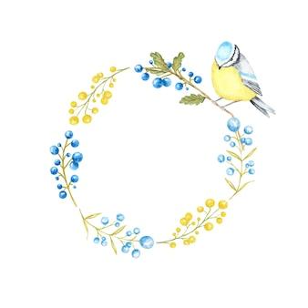 Marco de hojas de otoño, bayas y pájaros tomtit. acuarela pájaro tit azul sentado en la rama dibujada a mano.