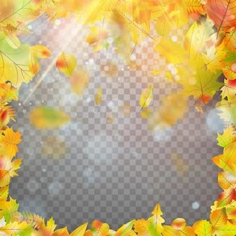 Marco de hojas de otoño y bokeh.