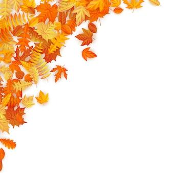Marco con hojas de otoño rojas, naranjas, marrones y amarillas que caen.