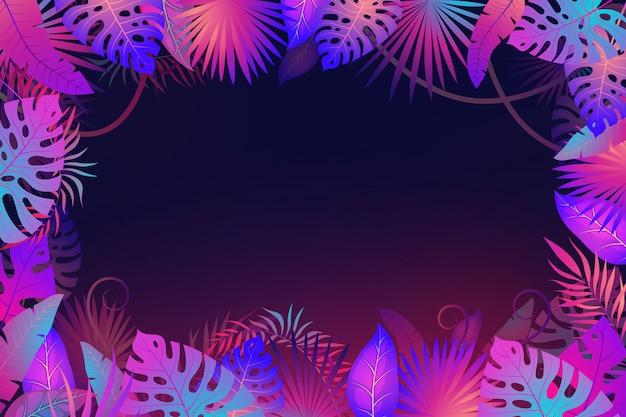 Marco de hojas de palma. exótica noche selva tropical floral hoja plantas flor naturaleza botánica textil banner moda