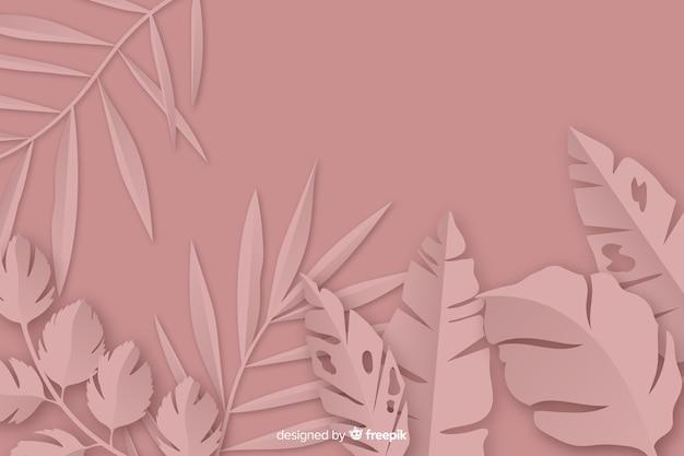 Marco de hojas de palma de papel monocromo
