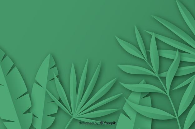 Marco de hojas de palma de papel tropical en verde