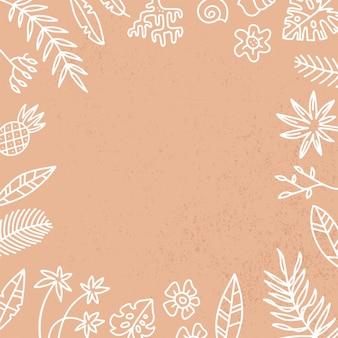 Marco con hojas de palmeras exóticas y flores. receta o menú dibujado a mano, fondo de las redes sociales. ilustración lineal blanca en estilo doodle sobre fondo con textura de arena