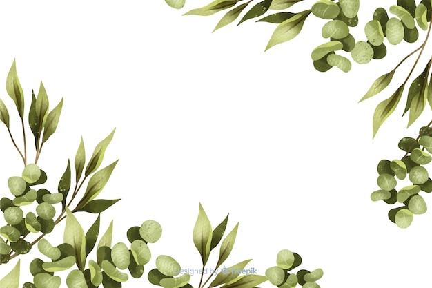 Marco de hojas pintadas de verde con espacio de copia