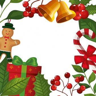 Marco de hojas y ramas con decoración navideña