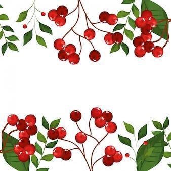 Marco de hojas y ramas con semillas iconos de navidad