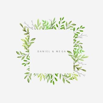 Marco de hojas y ramas verdes para invitación de boda