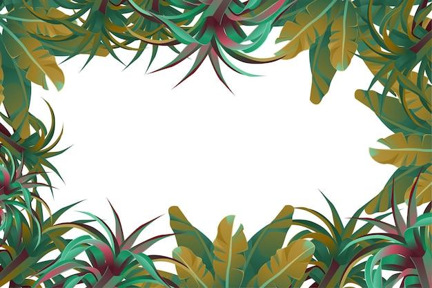 Marco de hojas de la selva