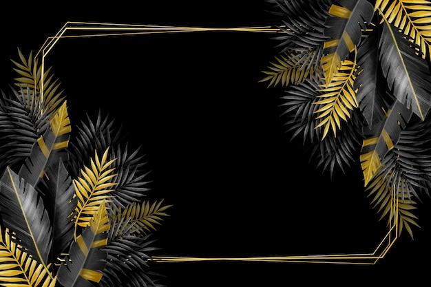 Marco y hojas tropicales plateadas y doradas