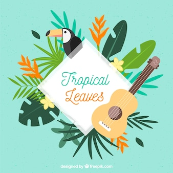 Marco de hojas tropicales con toucan y guitarra