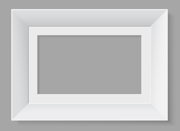 Marco horizontal blanco aislado sobre fondo gris.
